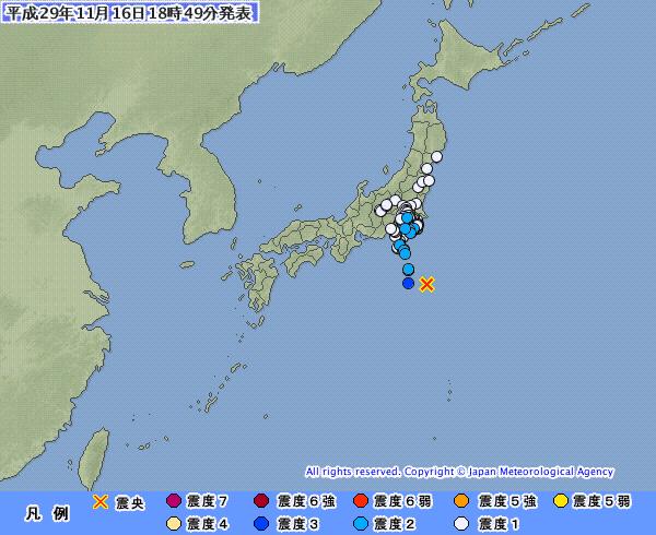 【地震】関東の広範囲で揺れを観測 M6.2 震源地は八丈島東方沖 深さ約20km
