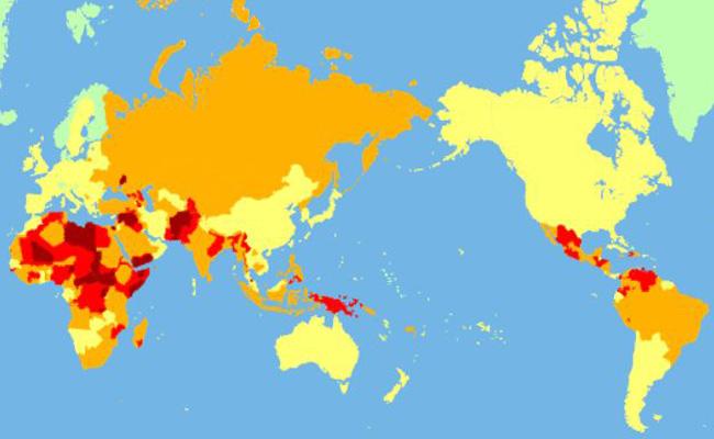 【2018年版】世界で一番危ない国を色分けしてリスク別にした世界地図を発表 → 日本の治安は?