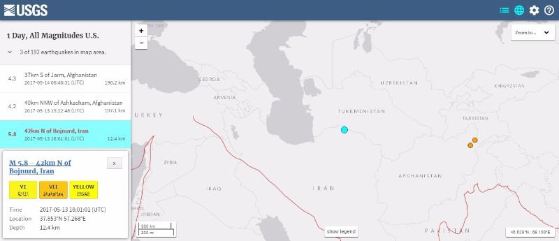 イラン北東部で「M5.8」の地震発生…数百人が負傷し、広範囲に被害
