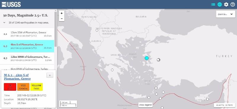 【USGS】エーゲ海で「M6.3」の地震が発生