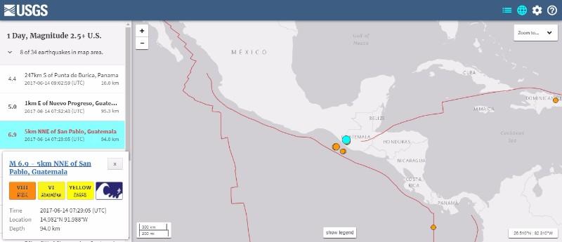 【中米】グアテマラで「M6.9」の地震発生 震源深さ約94km