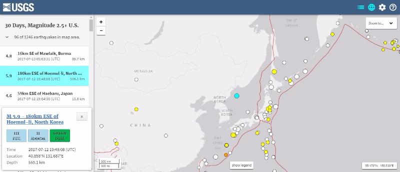 【ペンタゴン】北朝鮮沖で発生した「M5.9」の地震…核実験によるものではない
