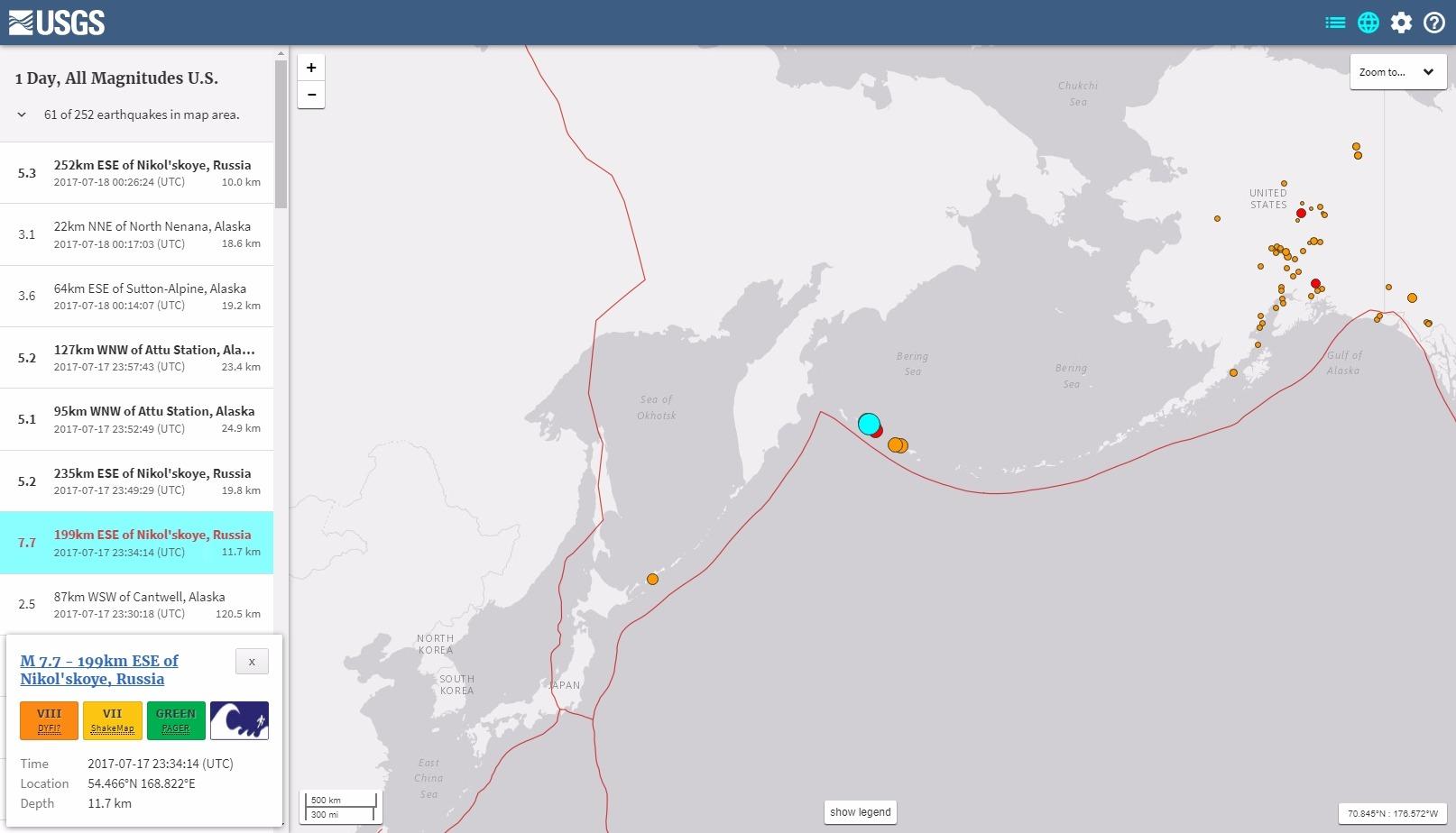 【海外】アリューシャン列島で「M7.7」の地震が発生