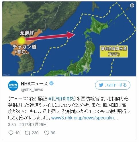 【ペンタゴン】北朝鮮がICBMを発射、日本の排他的経済水域(EEZ)に落下…「高度は3500kmに達し、飛距離は1000キロ」