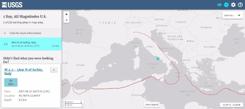 【USGS】イタリア南部でM4.2の地震発生 深さは約9.3km…地震による被害が相次ぐ