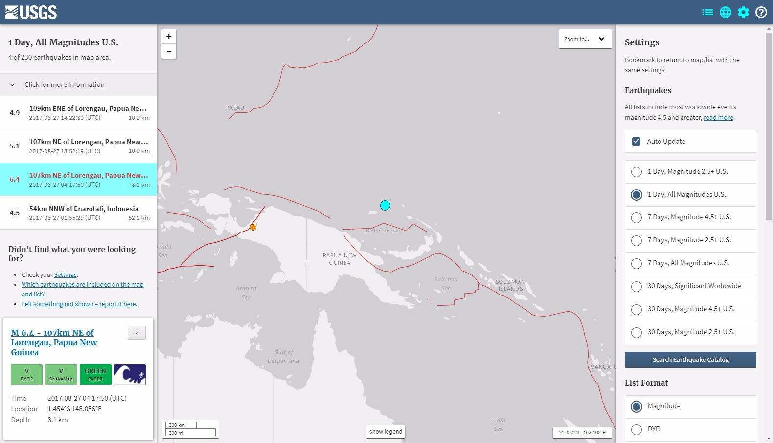 パプアニューギニア沖でM6.4の地震発生…M5クラスの余震続く