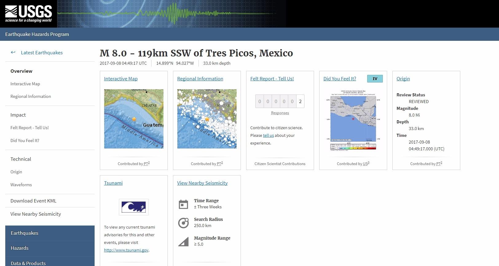 【地震】メキシコ沿岸で「M8.0」の巨大地震が発生