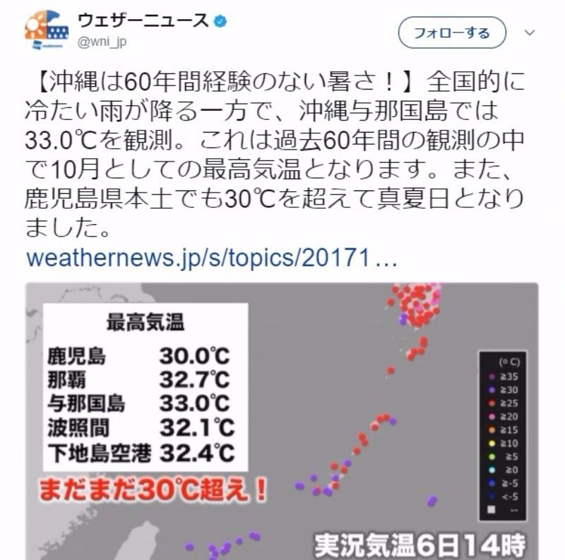 【暑い】沖縄で気温「33℃」…102年ぶりに10月の観測史上最高気温に