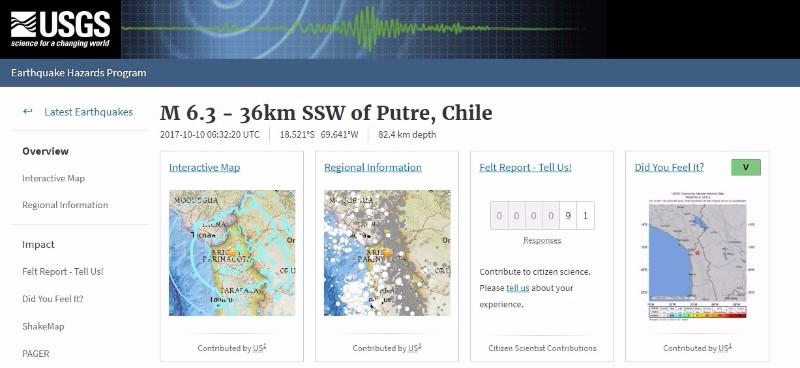 【USGS】チリ北部で「M6.3」の地震発生