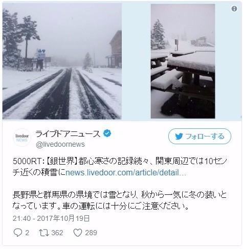 【天気】まだ10月なのに関東周辺で「積雪」も…都心でも最低気温「9.9℃」を記録、31年ぶりの寒さ
