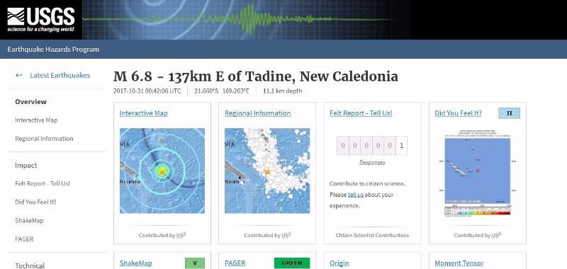 南太平洋のニューカレドニア近海で「M6.8」の地震発生