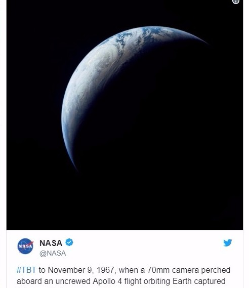 【NASA】アポロ4号が50年前に撮影した地球の姿を公開