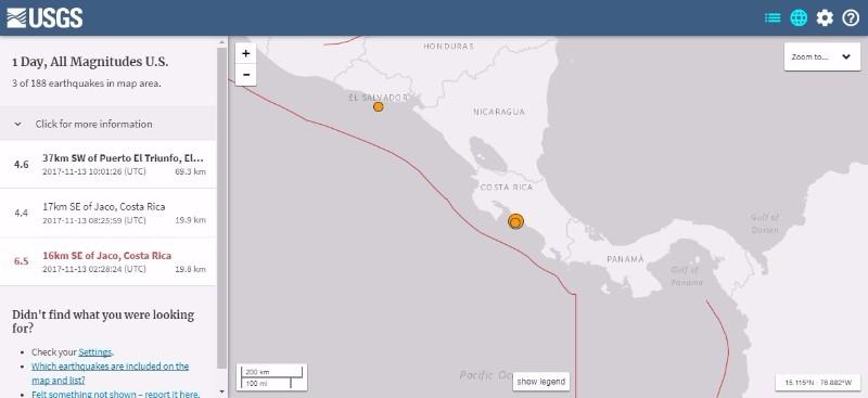 【USGS】中米コスタリカでM6.5の地震発生