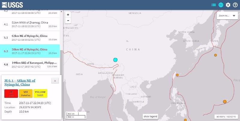 【中国】チベット自治区で「M6.3」の地震発生