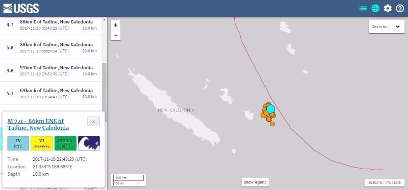 南太平洋ニューカレドニア沖で「M7.0」の地震…その後も「M5」クラスの地震が続く