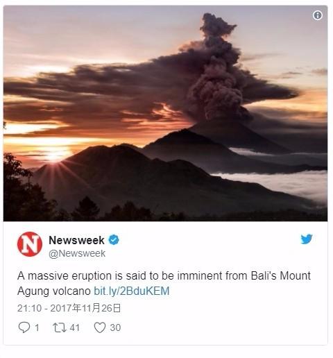 【インドネシア】バリ島にあるアグン山が噴火…噴煙4000メートルを上げる