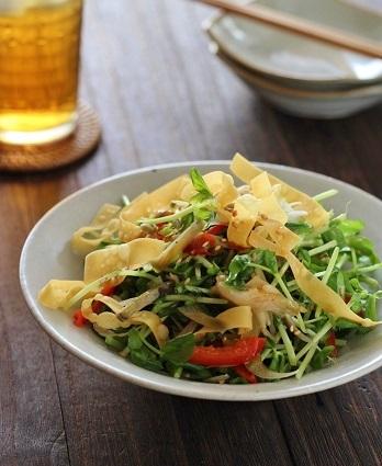 豆苗とザーサイの中華風サラダ