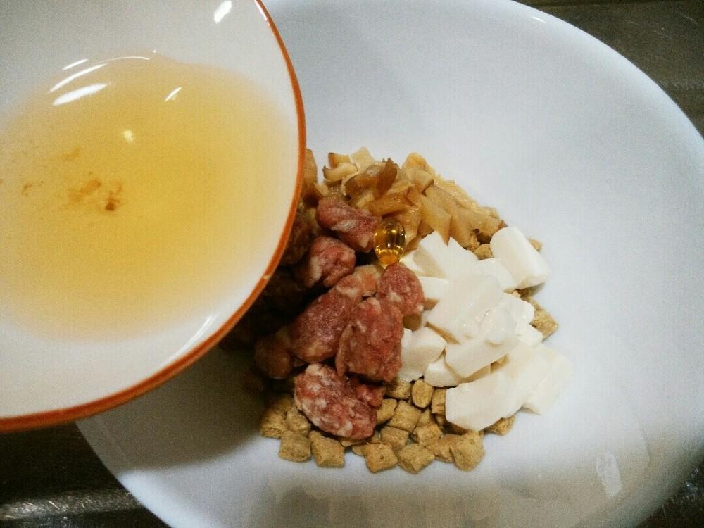ラム肉と豆腐と椎茸のせごはんの作り方4