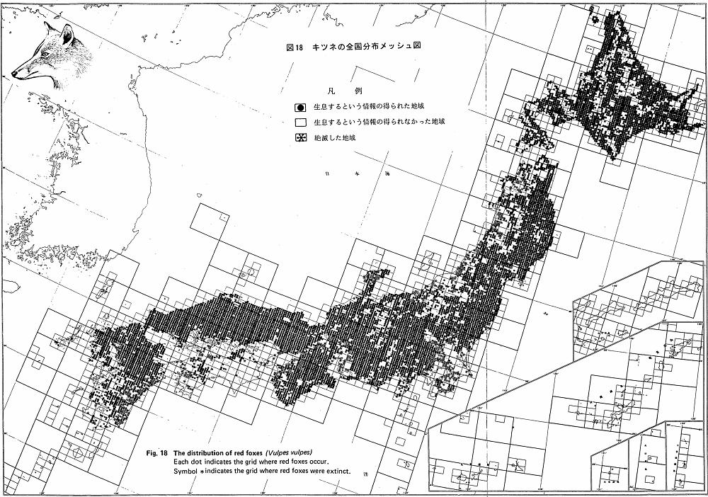 環境省 キツネの全国分布メッシュ図