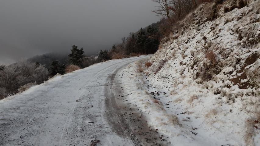 高城山では積雪は2センチか3センチ程度