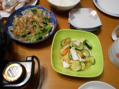 301019大根菜のお浸しと漬け物