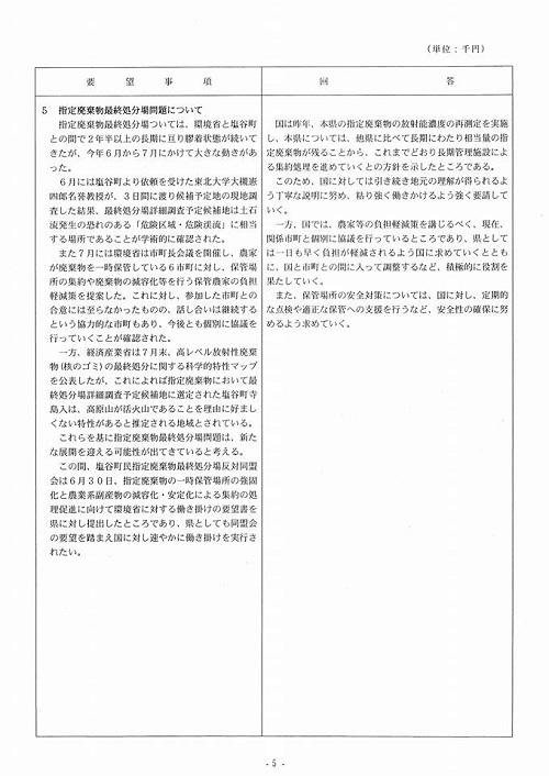 栃木県議会<民進党・無所属クラブ>年度中間期 政策推進・予算化要望 知事より回答が!⑧