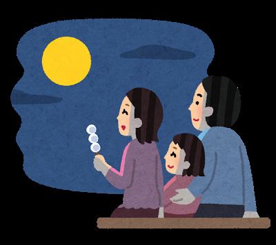 お月見、家族
