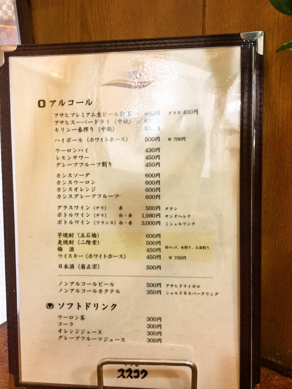 昔ながらの洋食屋 ぐりる スズコウ(メニュー)