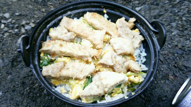 ソロキャンプ豚飯