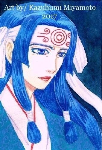 「龍天界起」の主人公・甲矢武の母。パーツが男性よりなのでごつくならないように注意しています。透明水彩。