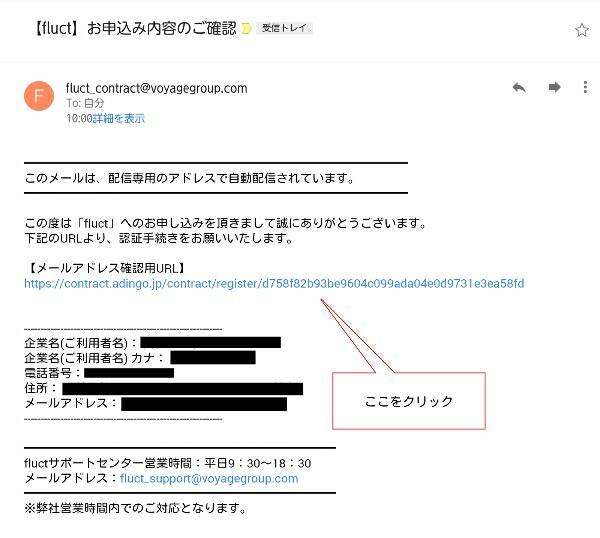 fluctからの確認メール