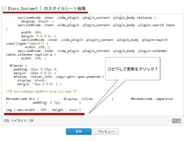 CSS画面にコードを入力した様子