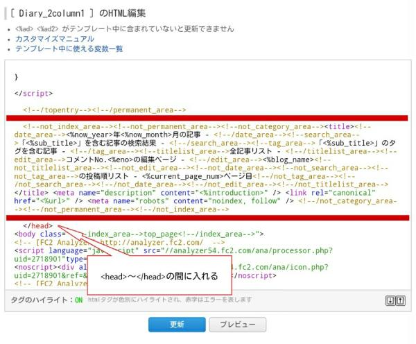 FC2ブログのHTML編集画面にタグを貼った様子