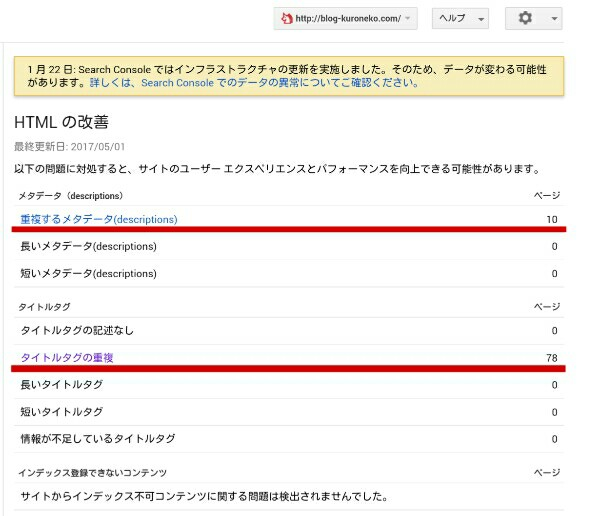 search consoleのHTMLの改善の画面