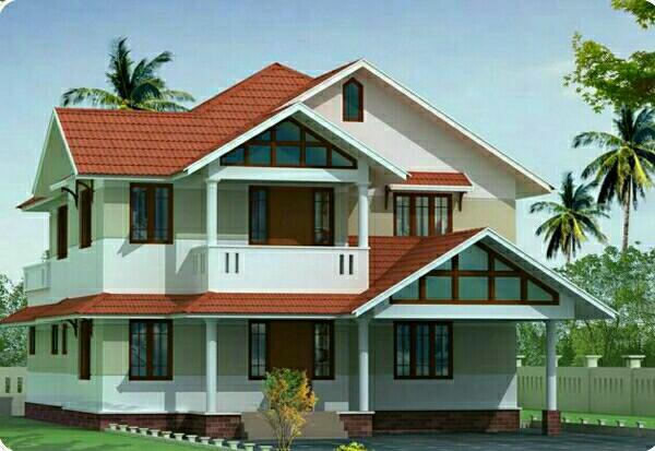 複雑な形状をした屋根の家