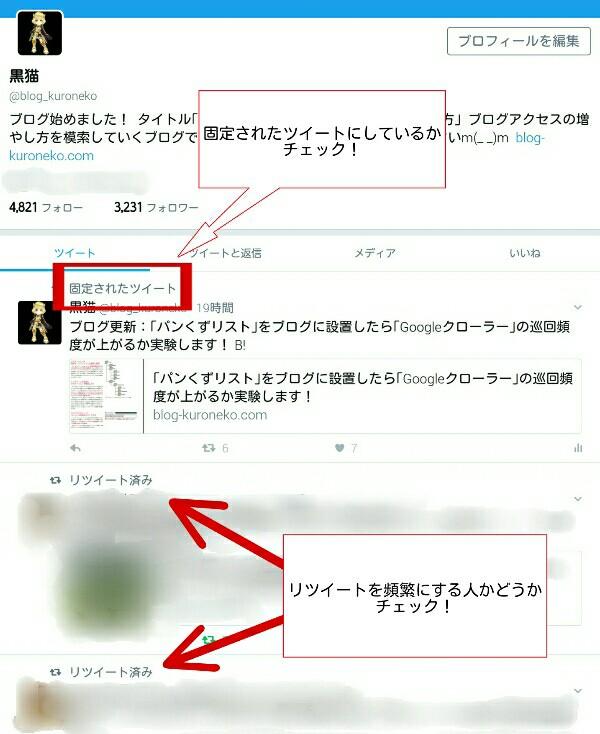 Twitterのプロフィール画面での説明