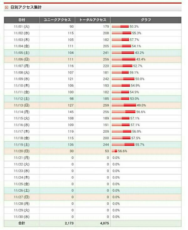 11月のアクセスデータ