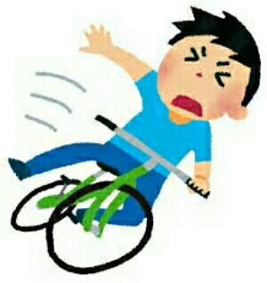 自転車から転びそうな様子