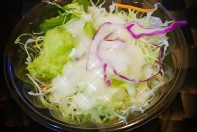 松屋の生野菜とフレンチドレッシング