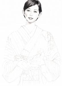 木村多江の鉛筆画似顔絵途中経過