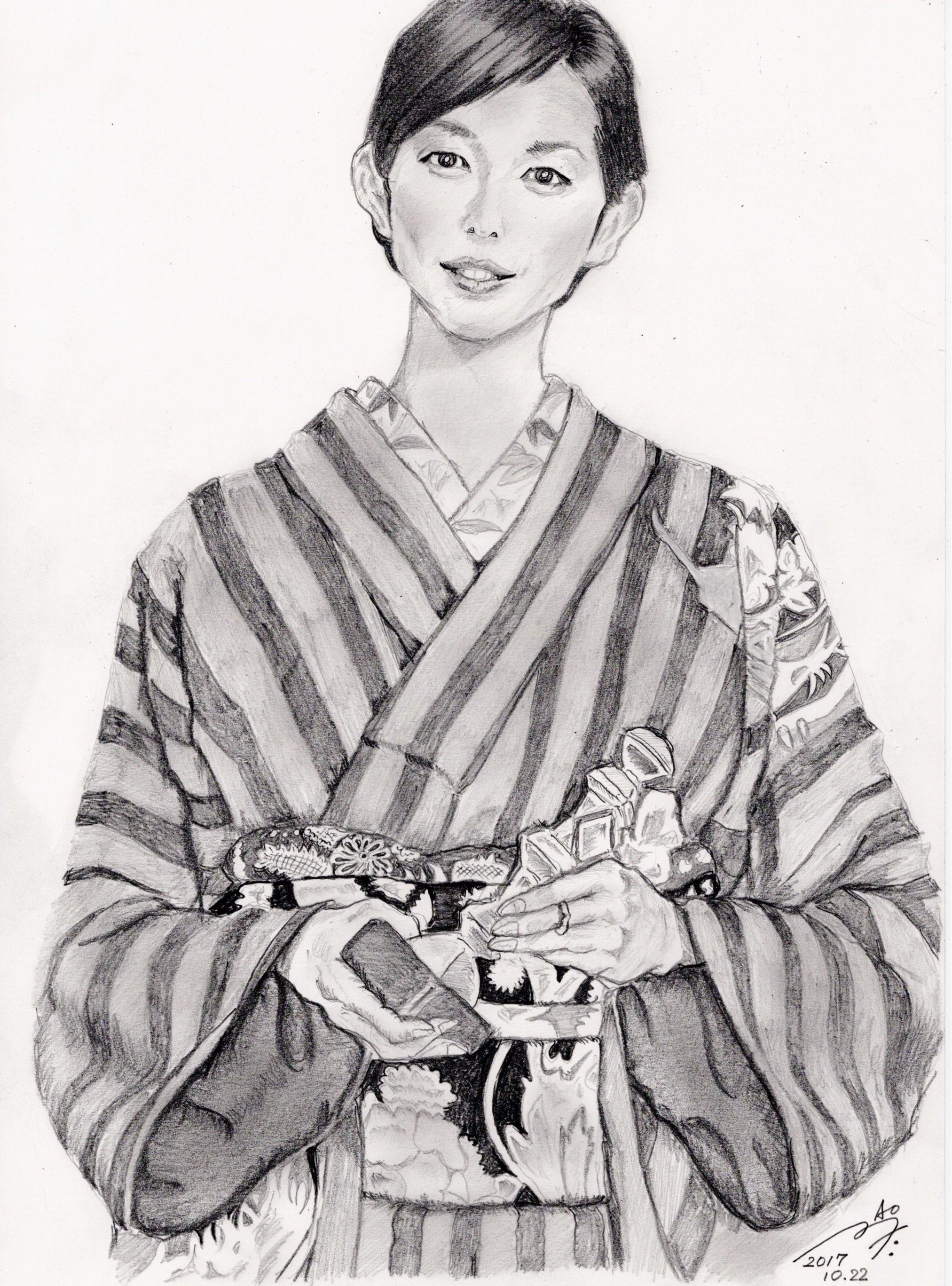 木村多江の鉛筆画似顔絵
