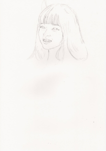 橋本環奈の鉛筆画似顔絵途中経過