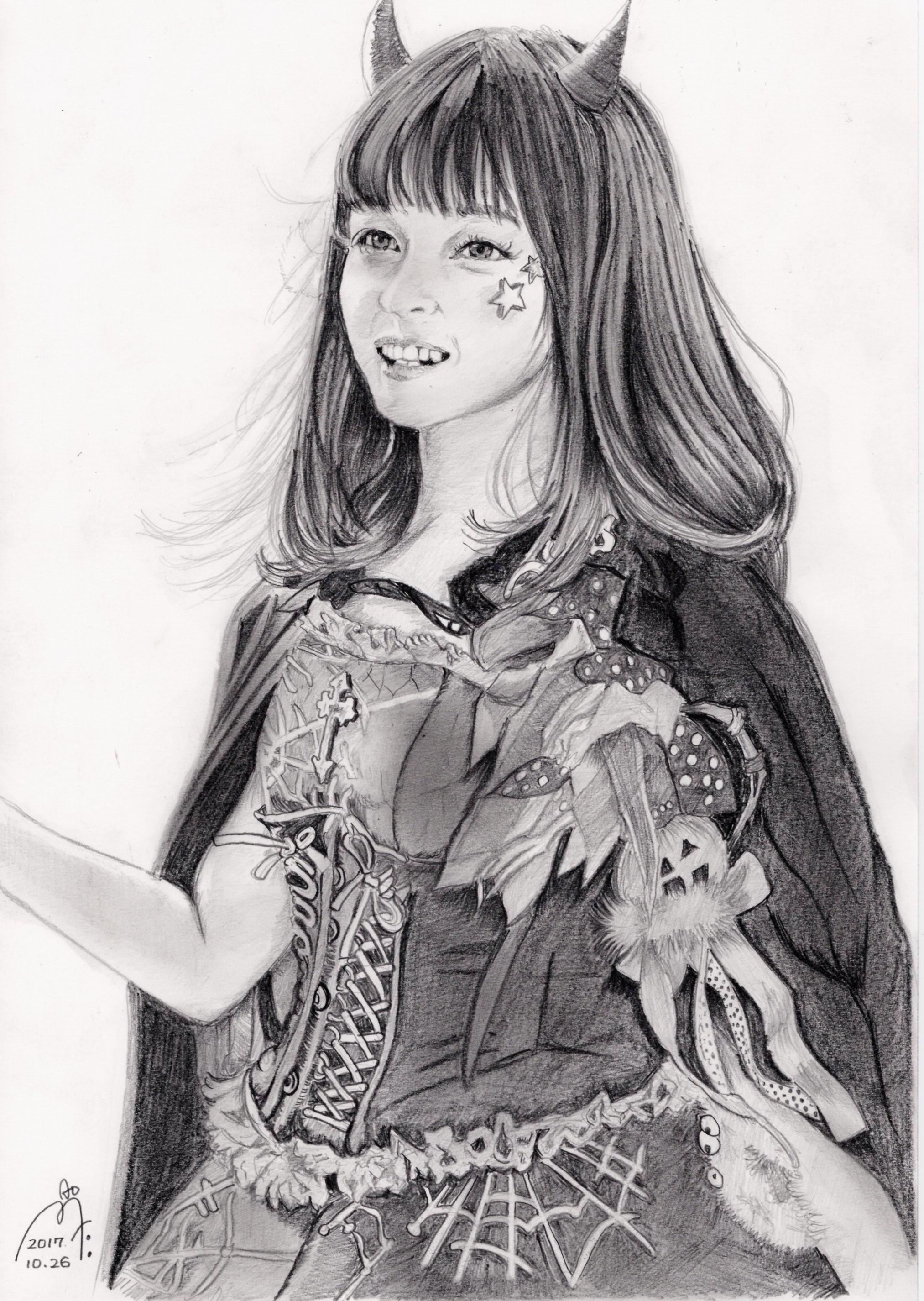 橋本環奈の鉛筆画似顔絵