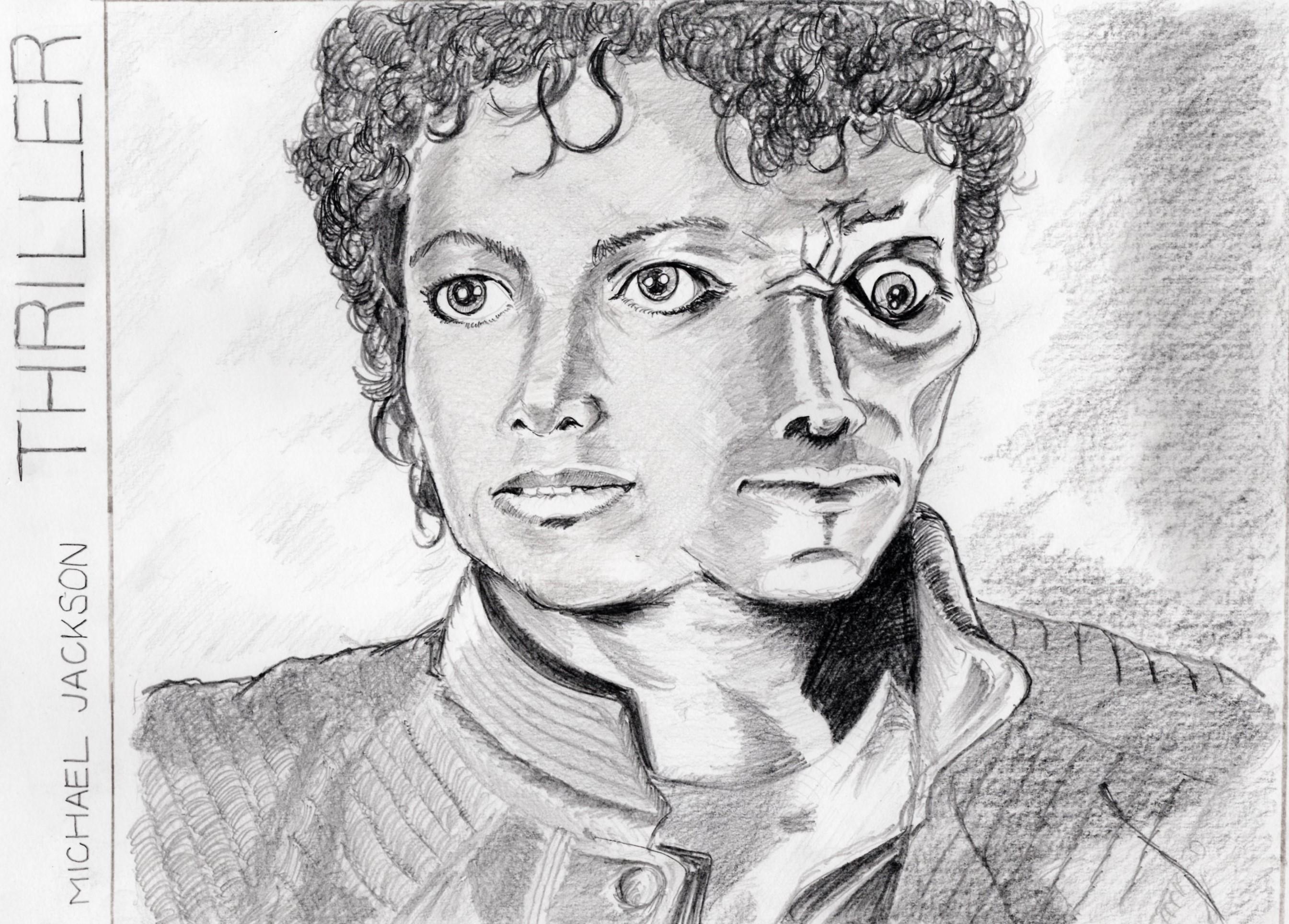 マイケルジャクソン「スリラー」鉛筆画似顔絵