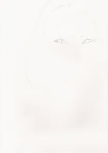 水原希子の鉛筆画似顔絵途中経過