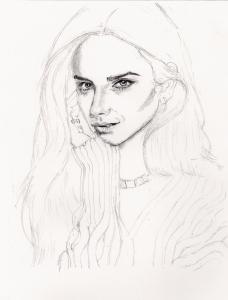 エマ・ワトソンの鉛筆画似顔絵途中経過