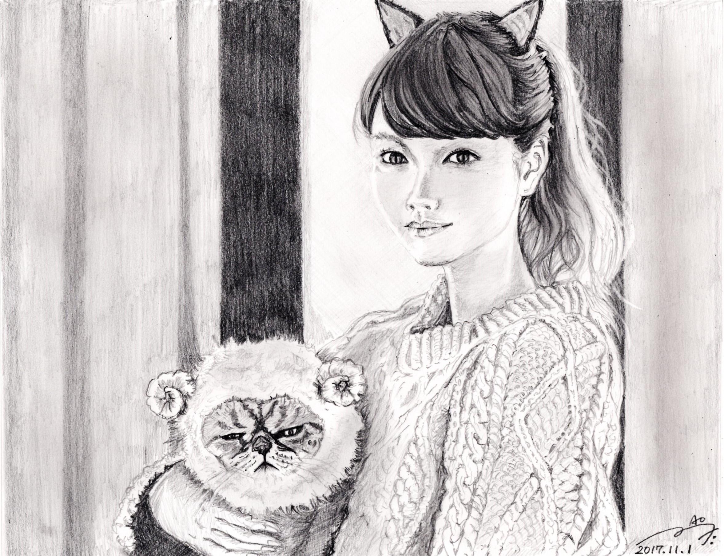 桐谷美玲の鉛筆画似顔絵