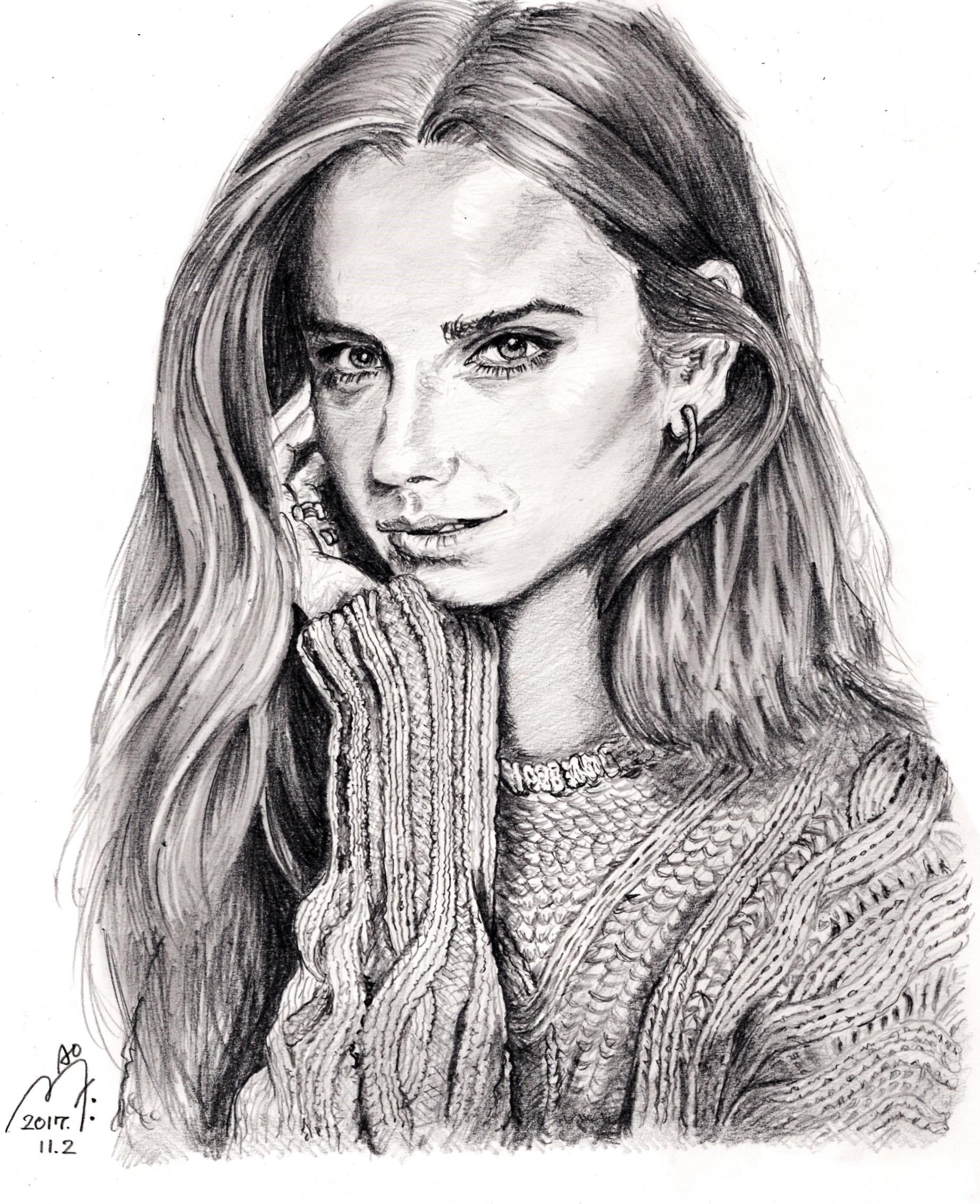エマ・ワトソンの鉛筆画似顔絵