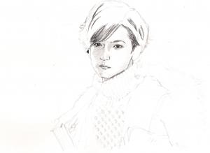 中島裕翔の鉛筆画似顔絵途中経過