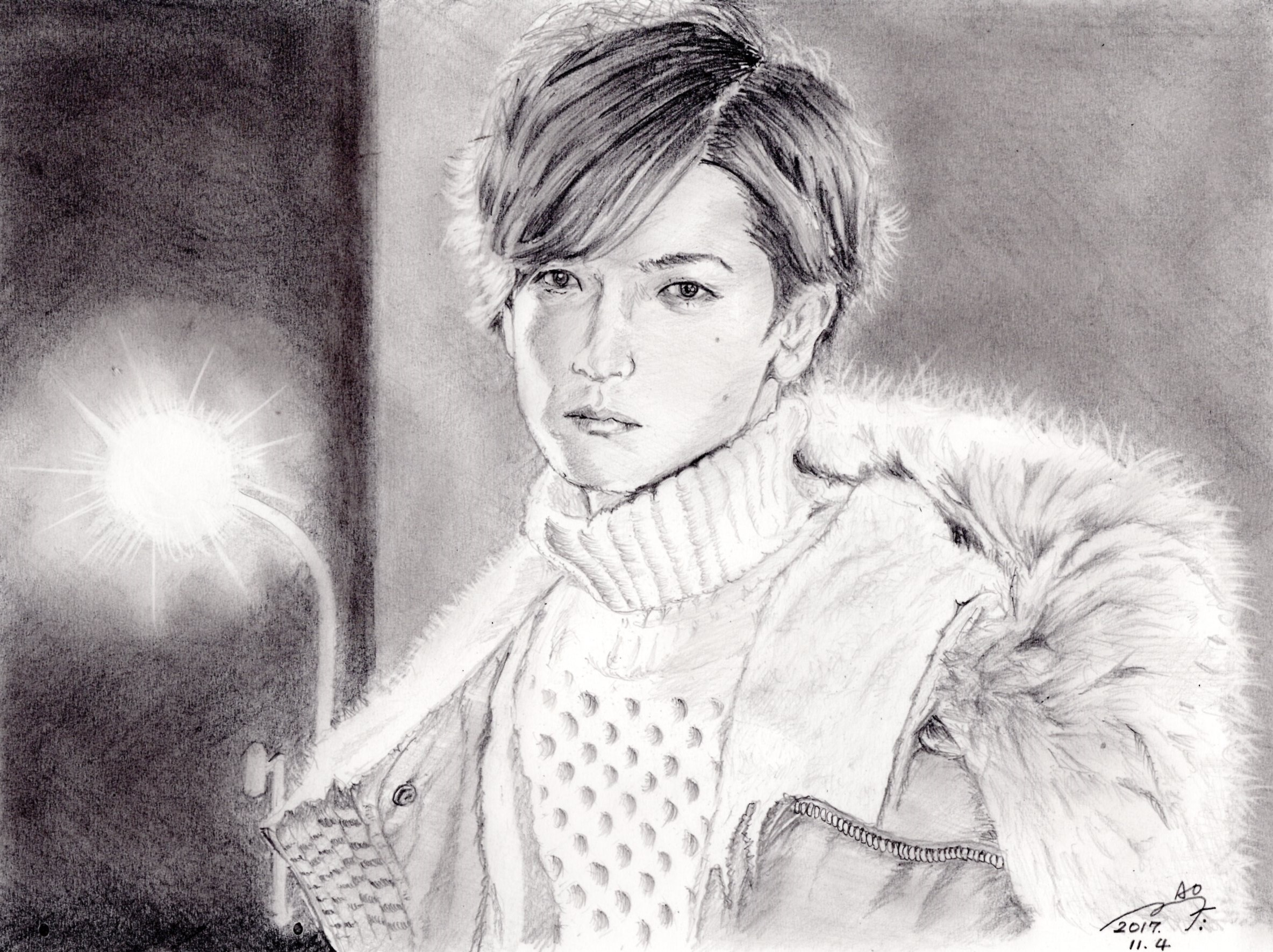 中島裕翔の鉛筆画似顔絵